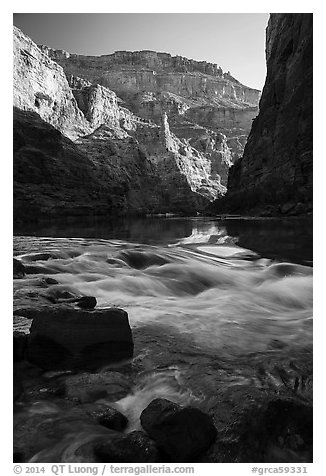 Rapids, reflections, and cliffs, early morning, Marble Canyon. Grand Canyon National Park (black and white)
