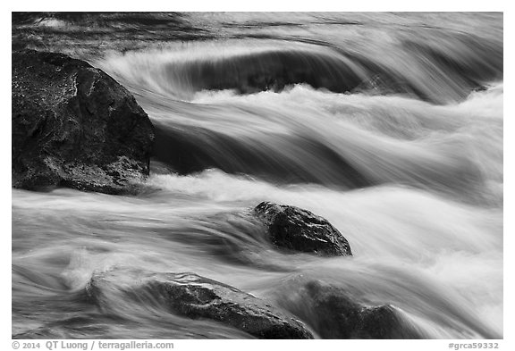 Boulders and rapids with color from canyon walls reflected. Grand Canyon National Park (black and white)