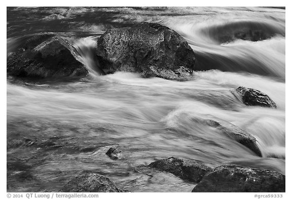 Boulders and rapids with glow from canyon walls reflected. Grand Canyon National Park (black and white)