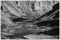 Rafts on meanders of the Colorado River at Nankoweap. Grand Canyon National Park ( black and white)
