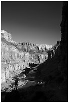 Hiker silhouette, Nankoweap. Grand Canyon National Park ( black and white)
