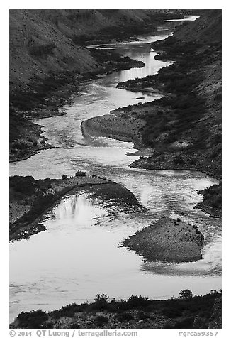 Reflections on the meanders of the Colorado River, Nankoweap. Grand Canyon National Park (black and white)