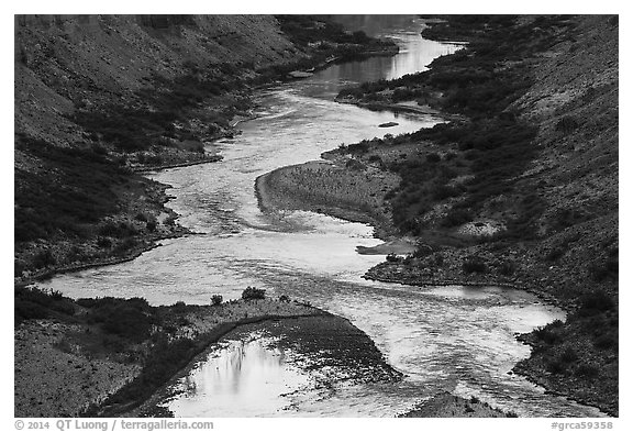 Cliffs reflected on the meanders of the Colorado River, Nankoweap. Grand Canyon National Park (black and white)