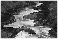 Cliffs reflected on the meanders of the Colorado River, Nankoweap. Grand Canyon National Park ( black and white)
