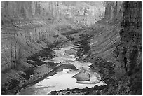 Colorado River at Nankoweap, dusk. Grand Canyon National Park ( black and white)