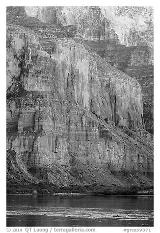 Cliffs above the Colorado River, Marble Canyon. Grand Canyon National Park (black and white)