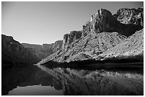 Buttes and glassy reflections in Colorado River. Grand Canyon National Park ( black and white)