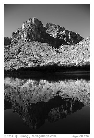 Buttes and reflections in Colorado River. Grand Canyon National Park (black and white)