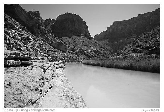 Turquoise Little Colorodo River in Little Colorado Canyon. Grand Canyon National Park (black and white)