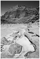 Little Colorodo River with turqouise waters in the spring below Chuar Butte. Grand Canyon National Park ( black and white)