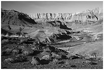Colorado River bend below Palissades of the Desert. Grand Canyon National Park ( black and white)