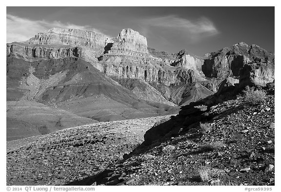 Escalante Butte from below. Grand Canyon National Park (black and white)