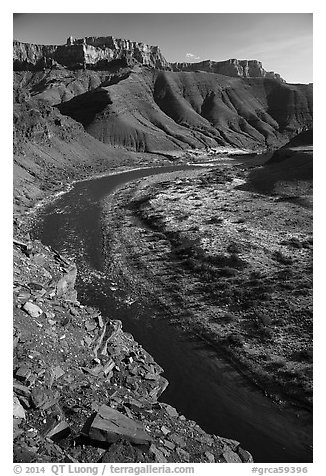 Unkar rapids. Grand Canyon National Park (black and white)