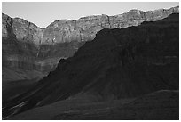 Last light illuminates cliffs of South Rim. Grand Canyon National Park ( black and white)