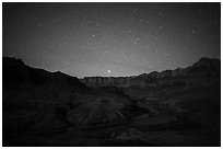 Palissades of the Desert at night. Grand Canyon National Park ( black and white)