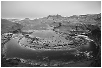 Colorado River bend at Unkar Rapids, dawn. Grand Canyon National Park ( black and white)