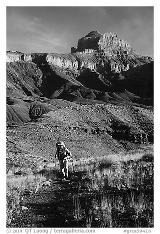 Backpacker, Escalante Route trail. Grand Canyon National Park (black and white)