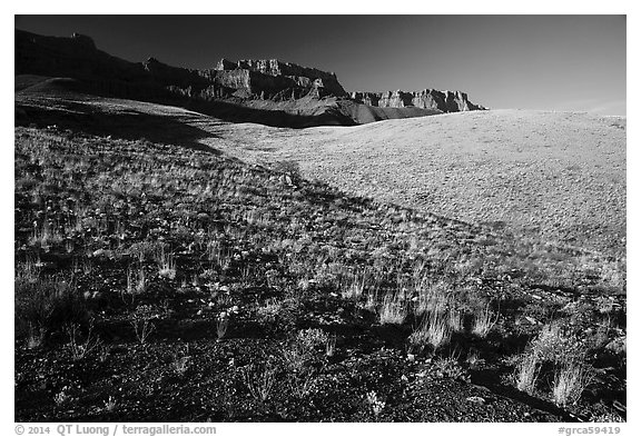 Slopes and South Rim, early morning. Grand Canyon National Park (black and white)