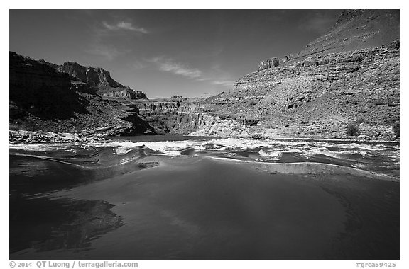 Current preceding rapids. Grand Canyon National Park (black and white)