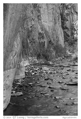 Rock walls and stream, Clear Creek gorge. Grand Canyon National Park (black and white)
