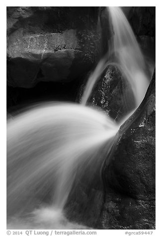 Clear Creek Falls detail. Grand Canyon National Park (black and white)