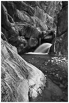 Clear Creek Canyon with waterfall. Grand Canyon National Park ( black and white)