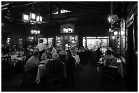 Dining room in evening, El Tovar. Grand Canyon National Park ( black and white)