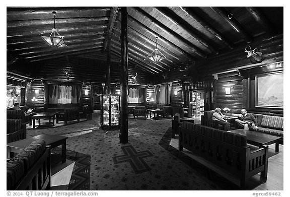 Main lobby, El Tovar. Grand Canyon National Park (black and white)