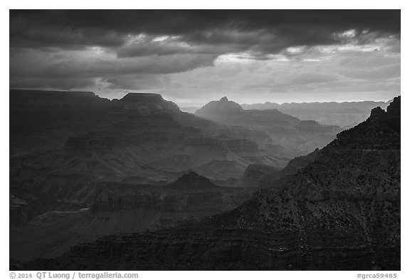 Stormy sunrise. Grand Canyon National Park (black and white)