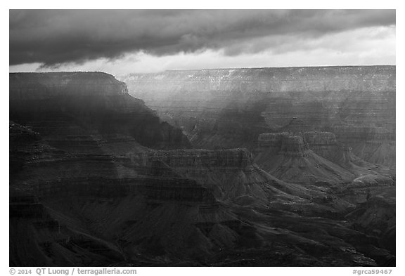 Clouds over distant rim. Grand Canyon National Park (black and white)