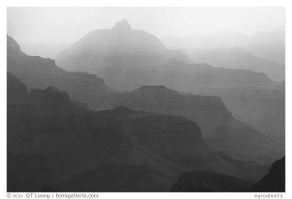 Canyon ridges and weather. Grand Canyon National Park (black and white)