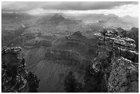 Storm clouds over Grand Canyon near Mather Point. Grand Canyon National Park ( black and white)