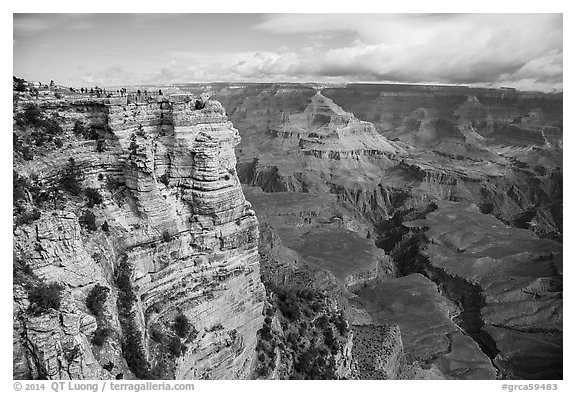 Tourists on Mather Point. Grand Canyon National Park (black and white)