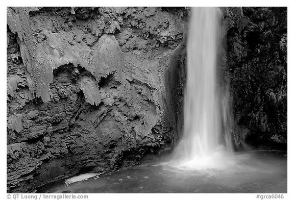 Pool and base of Mooney falls. Grand Canyon National Park (black and white)