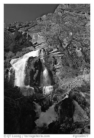 Thunder river upper waterfall. Grand Canyon National Park (black and white)