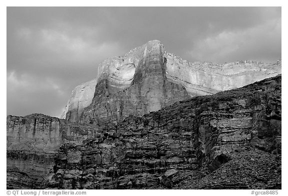 Canyon walls seen from Tapeats Creek, sunset. Grand Canyon National Park (black and white)
