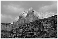 Canyon walls seen from Tapeats Creek, sunset. Grand Canyon National Park ( black and white)