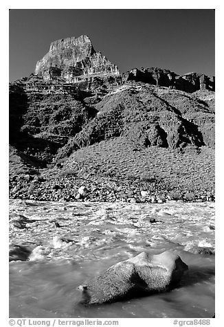 Rapids in  Colorado river, morning. Grand Canyon National Park (black and white)