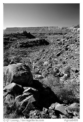 Layers of Supai from  edge of  Esplanade. Grand Canyon National Park (black and white)