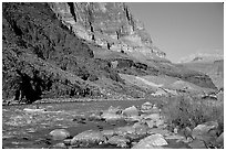 Colorado River with raft. Grand Canyon National Park ( black and white)