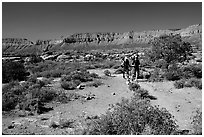 Backpackers on  Esplanade, Thunder River and Deer Creek trail. Grand Canyon National Park, Arizona, USA. (black and white)