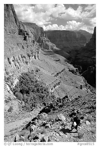 Backpacker on switchbacks above Tapeats Creek. Grand Canyon National Park (black and white)