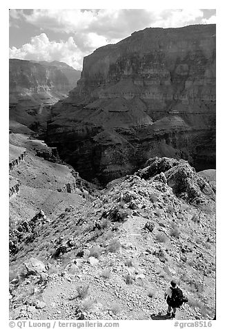 Solo Backpacker above Thunder River. Grand Canyon National Park (black and white)