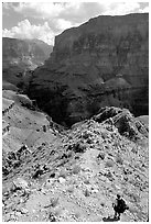 Solo Backpacker above Thunder River. Grand Canyon National Park, Arizona, USA. (black and white)