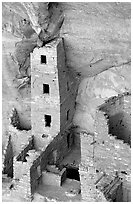 Square Tower house,  park tallest ruin, afternoon. Mesa Verde National Park ( black and white)