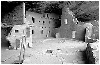 Spruce Tree house, ancestral pueblan ruin. Mesa Verde National Park, Colorado, USA. (black and white)