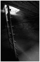 Ladder through a smoke hole in Spruce Tree house. Mesa Verde National Park, Colorado, USA. (black and white)
