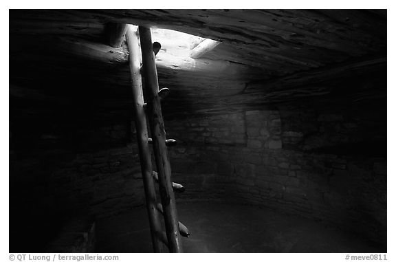 Ladder through a smoke hole in Spruce Tree house. Mesa Verde National Park (black and white)