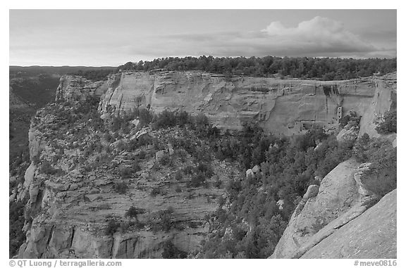 Square Tower house and Long Mesa, dusk. Mesa Verde National Park (black and white)
