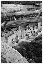 Cliff Palace, late afternoon. Mesa Verde National Park ( black and white)